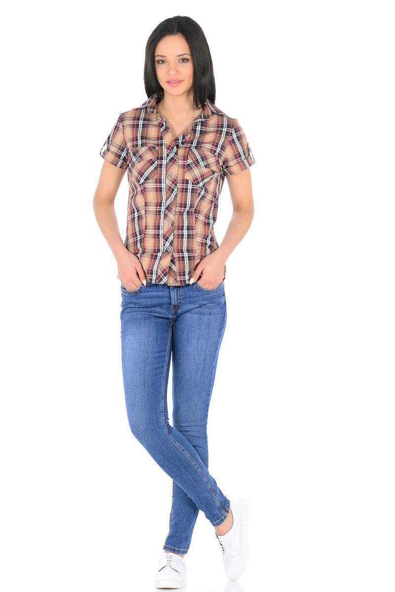 Рубашка женская HomeLike, цвет: бежевый, бордовый. 881. Размер 50881Стильная рубашка в клетку HomeLike приталенная, с короткими рукавами, с отложным воротником. Передняя планка застегивается на пуговицы. На полочках накладные карманы. Рукава дополнены патами с пуговицами. Спинка с высокой кокеткой. Хлопковый текстиль, безупречный пошив, правильный крой с рельефами обеспечивают отличную посадку по фигуре и комфорт в процессе носки.
