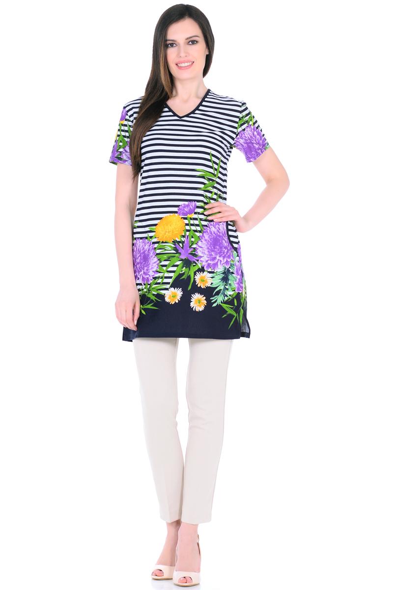 Платье домашнее HomeLike, цвет: белый, зеленый, сиреневый. 894. Размер 58894Домашнее платье HomeLike прямого силуэта, с короткими рукавами, с Vобразным вырезом горловины, по бокам практичные карманы, в боковых швах разрезы. Современная расцветка с яркими принтами украшает удобную вещь без лишних деталей. Хлопковый трикотаж приятен к телу, создает ощущения легкости и комфорта в процессе носки.