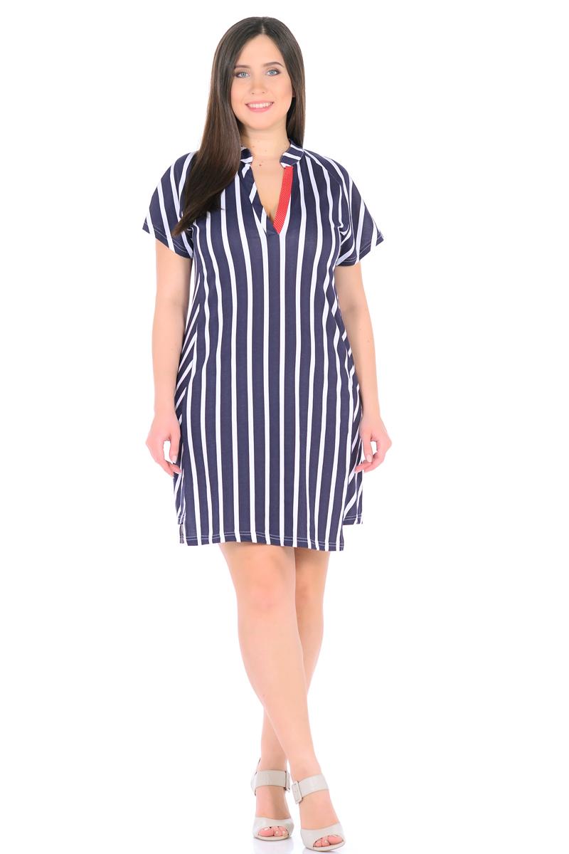 Платье HomeLike, цвет: темно-синий, белый, красный. 896. Размер 52896Стильное платье HomeLike в полоску, прямого покроя, с короткими рукавами реглан. Выполнено из хлопкового трикотажа. Фигурный низ платья смотрится необычно, оригинально. Модный воротник стойка с V-образным вырезом обработаны контрастными планками. Платье отлично садится по фигуре любого типа, скрывает несовершенства, вертикальная полоска визуально вытягивает силуэт, делая фигуру стройнее.