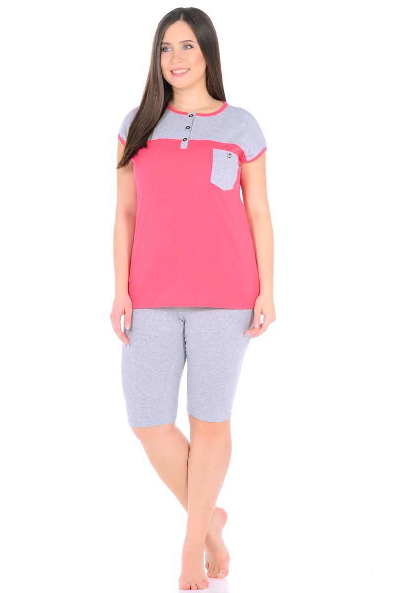 Домашний комплект женский HomeLike: футболка, бриджи, цвет: розовый, серый. 899. Размер 50899Комплект домашней одежды HomeLike состоит из футболки и бридж. Футболка в комбинированной расцветке, прямого покроя, без рукавов, с округлым вырезом горловины, с короткой планкой на пуговицах. На полочке накладной карман с декором пуговицей. Удобные бриджи с поясом на резинке, на одной из брючин небольшой накладной карман. Комплект в приятной цветовой гамме, отлично смотрится, хлопковый трикотаж приятен к телу, хорошо садится по фигуре, обеспечивает комфорт в процессе носки.