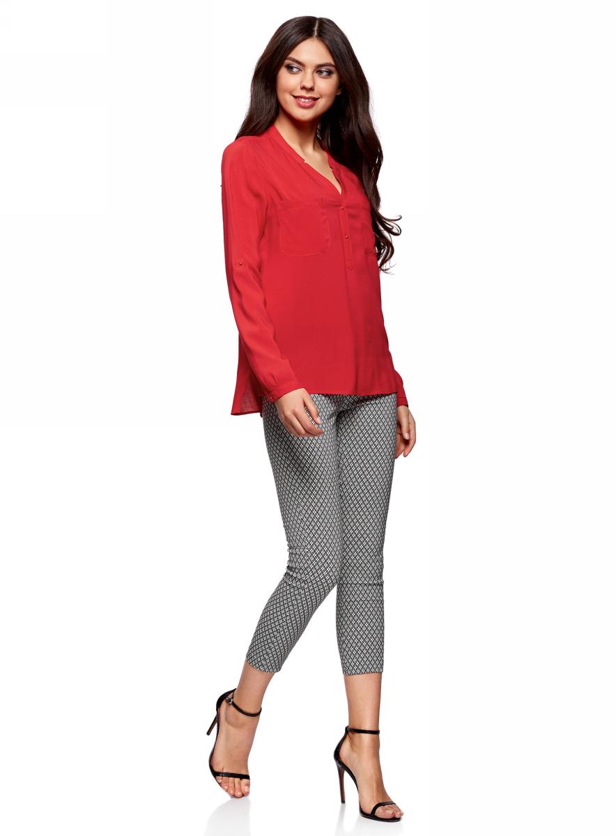 Блузка женская oodji Ultra, цвет: красный. 11411049-1/24681/4500N. Размер 42-170 (48-170)11411049-1/24681/4500NСтильная женская блузка, выполненная из 100% вискозы, отлично дополнит ваш гардероб. Модель с длинными рукавами и V-образным вырезом горловины застегивается сверху на пуговицы. Блузка дополнена нагрудными карманами.