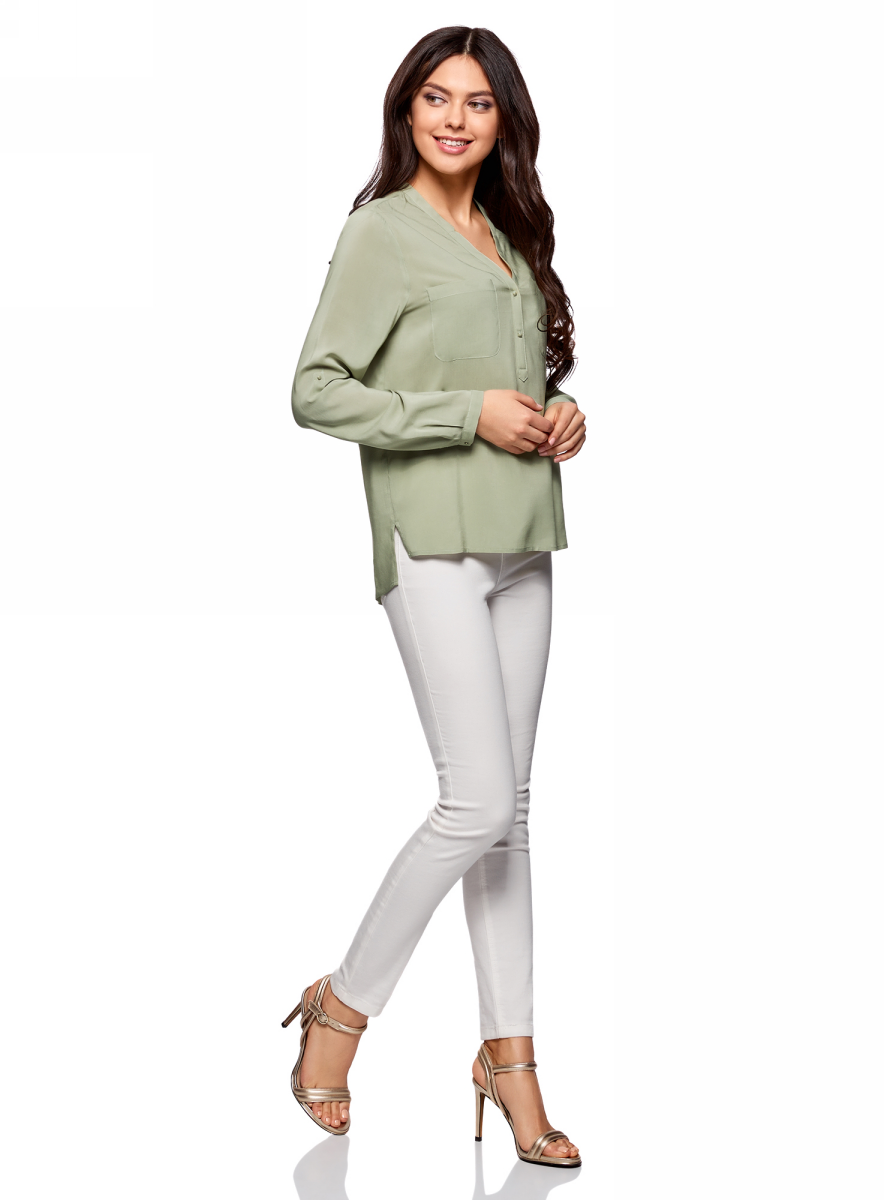 Блузка женская oodji Ultra, цвет: светло-зеленый. 11411049-1/24681/6000N. Размер 36-170 (42-170)11411049-1/24681/6000NБлузка принтованная из вискозы