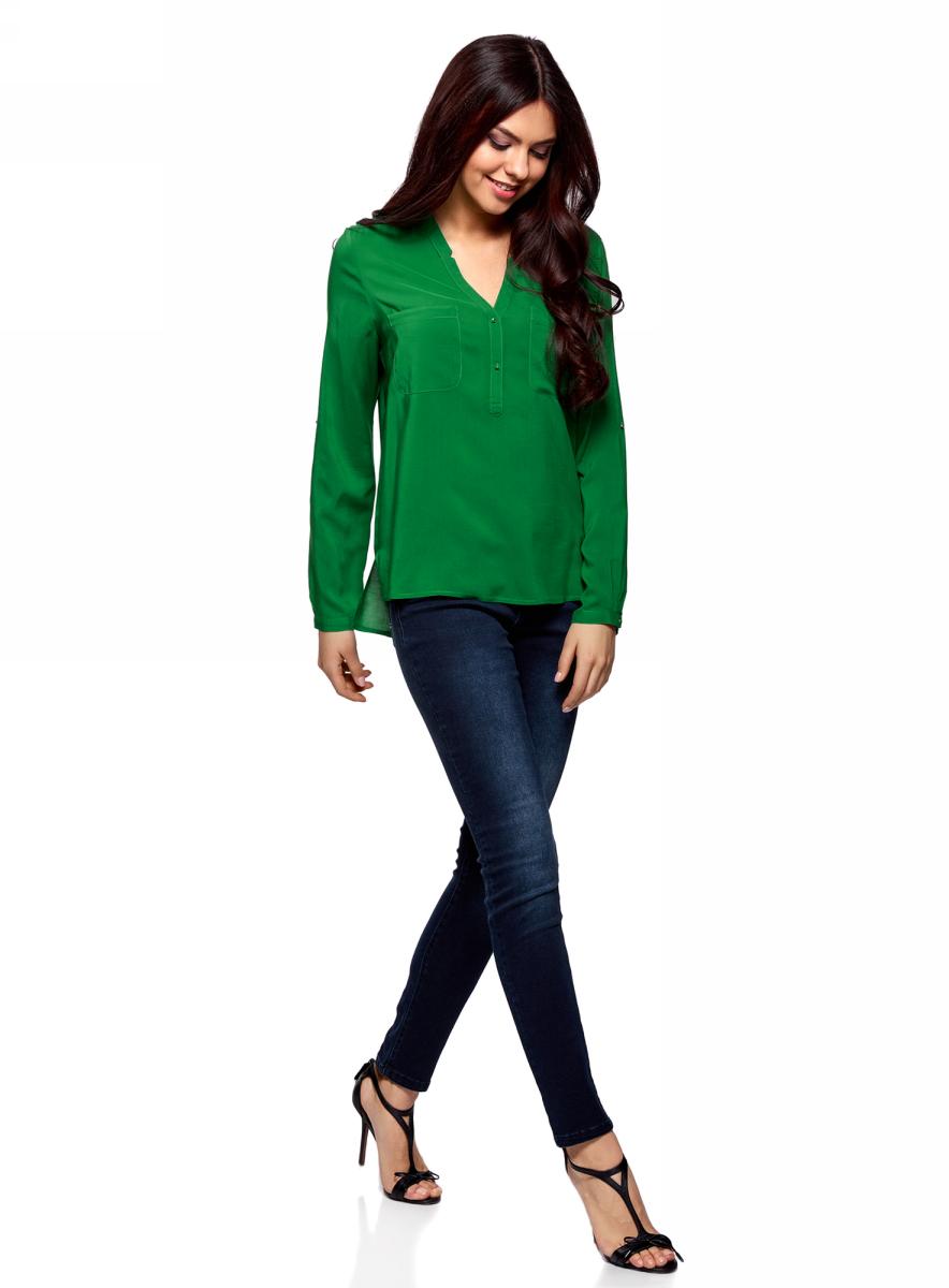Блузка женская oodji Ultra, цвет: травяной. 11411049-1/24681/6B00N. Размер 42-170 (48-170)11411049-1/24681/6B00NБлузка принтованная из вискозы