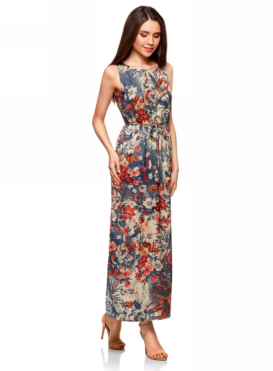 Платье oodji Collection, цвет: бежевый, синий, цветы. 21900323-1/42873/3375F. Размер 40-170 (46-170)21900323-1/42873/3375FПлатье oodji Collection выполнено из легкой струящейся ткани. Модель макси-длины с разрезами на юбке по бокам и вырезом-капелькой на спинке застегивается на пуговицу сзади. Линию талии подчеркивает поясок-кулиска, входящий в комплект. Платье подойдет для праздника, прогулок или дружеских встреч и станет отличным дополнением гардероба в летний период. Мягкая ткань на основе полиэстера приятна на ощупь и комфортна в носке.