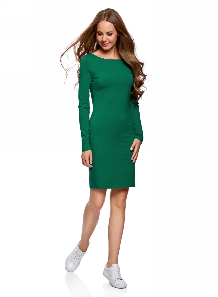 Платье oodji Ultra, цвет: изумрудный. 14001183B/46148/6D00N. Размер XL (50)14001183B/46148/6D00NПлатье oodji Ultra выполнено из качественного трикотажа. Модель с круглым вырезом горловины и длинными рукавами выгодно подчеркивает достоинства фигуры.