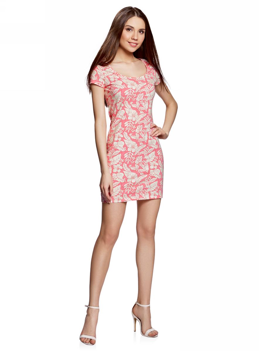 Платье oodji Ultra, цвет: розовый, кремовый, цветы. 14001182B/47420/4130F. Размер XS (42)14001182B/47420/4130FОблегающее платье oodji Ultra выполнено из качественного трикотажа. Модель мини-длины с круглым вырезом горловиныи короткими рукавами выгодно подчеркивает достоинства фигуры.