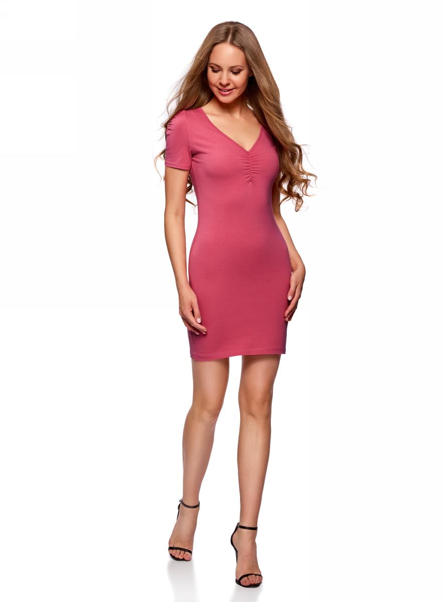 Платье oodji Ultra, цвет: розовый. 14001082B/47490/4100N. Размер M (46)14001082B/47490/4100NОблегающее платье oodji Ultra выполнено из качественного трикотажа. Модель мини-длины с V-образным вырезом горловиныи короткими рукавамивыгодно подчеркивает достоинства фигуры.