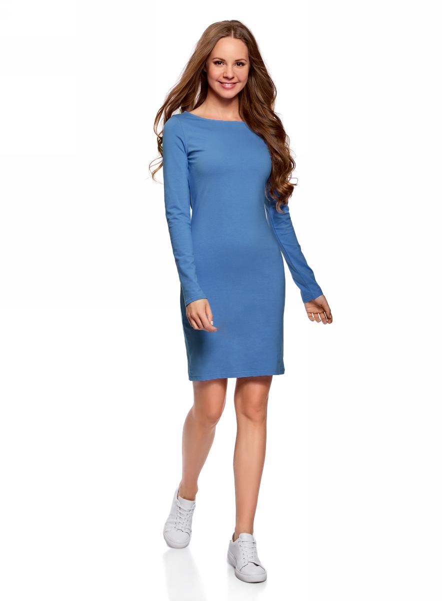 Платье oodji Ultra, цвет: синий. 14001183B/46148/7501N. Размер L (48)14001183B/46148/7501NПлатье oodji Ultra выполнено из качественного трикотажа. Модель с круглым вырезом горловины и длинными рукавами выгодно подчеркивает достоинства фигуры.