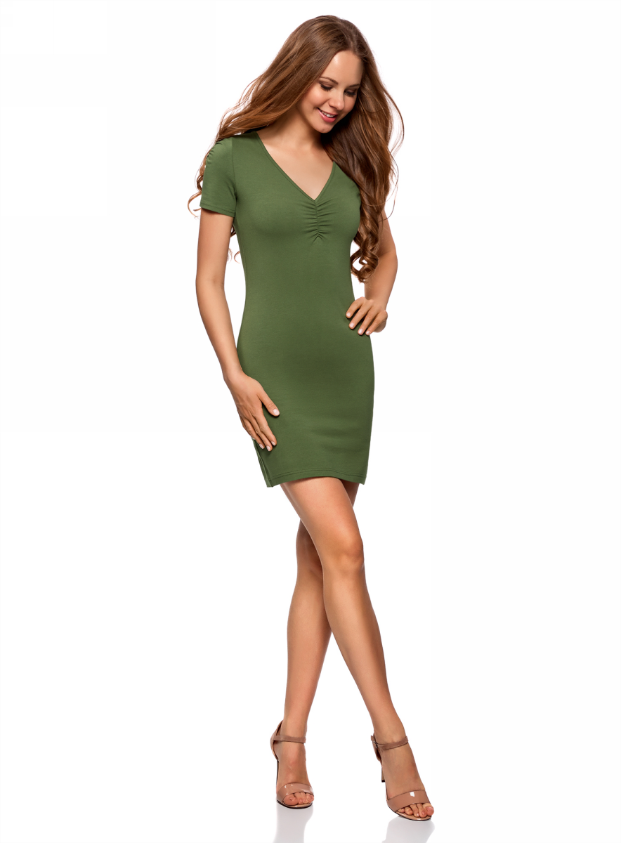 Платье oodji Ultra, цвет: темно-зеленый. 14001082B/47490/6900N. Размер XXL (52)14001082B/47490/6900NОблегающее платье oodji Ultra выполнено из качественного трикотажа. Модель мини-длины с V-образным вырезом горловиныи короткими рукавамивыгодно подчеркивает достоинства фигуры.
