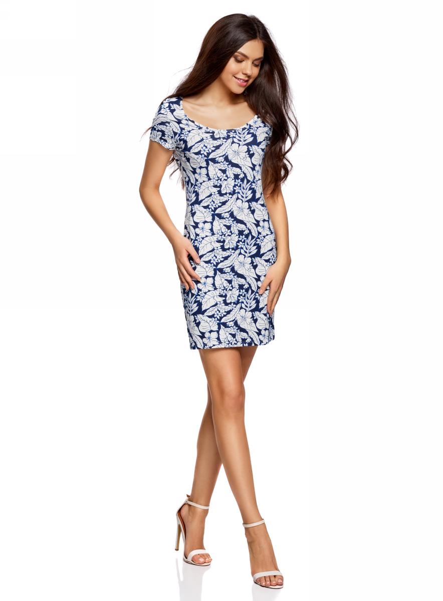 Платье oodji Ultra, цвет: темно-синий, кремовый, цветы. 14001182B/47420/7930F. Размер S (44)14001182B/47420/7930FОблегающее платье oodji Ultra выполнено из качественного трикотажа. Модель мини-длины с круглым вырезом горловиныи короткими рукавами выгодно подчеркивает достоинства фигуры.