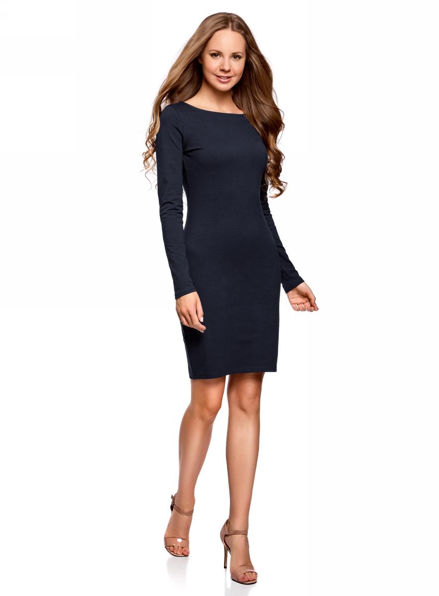 Платье oodji Ultra, цвет: темно-синий. 14001183B/46148/7900N. Размер M (46)14001183B/46148/7900NПлатье oodji Ultra выполнено из качественного трикотажа. Модель с круглым вырезом горловины и длинными рукавами выгодно подчеркивает достоинства фигуры.