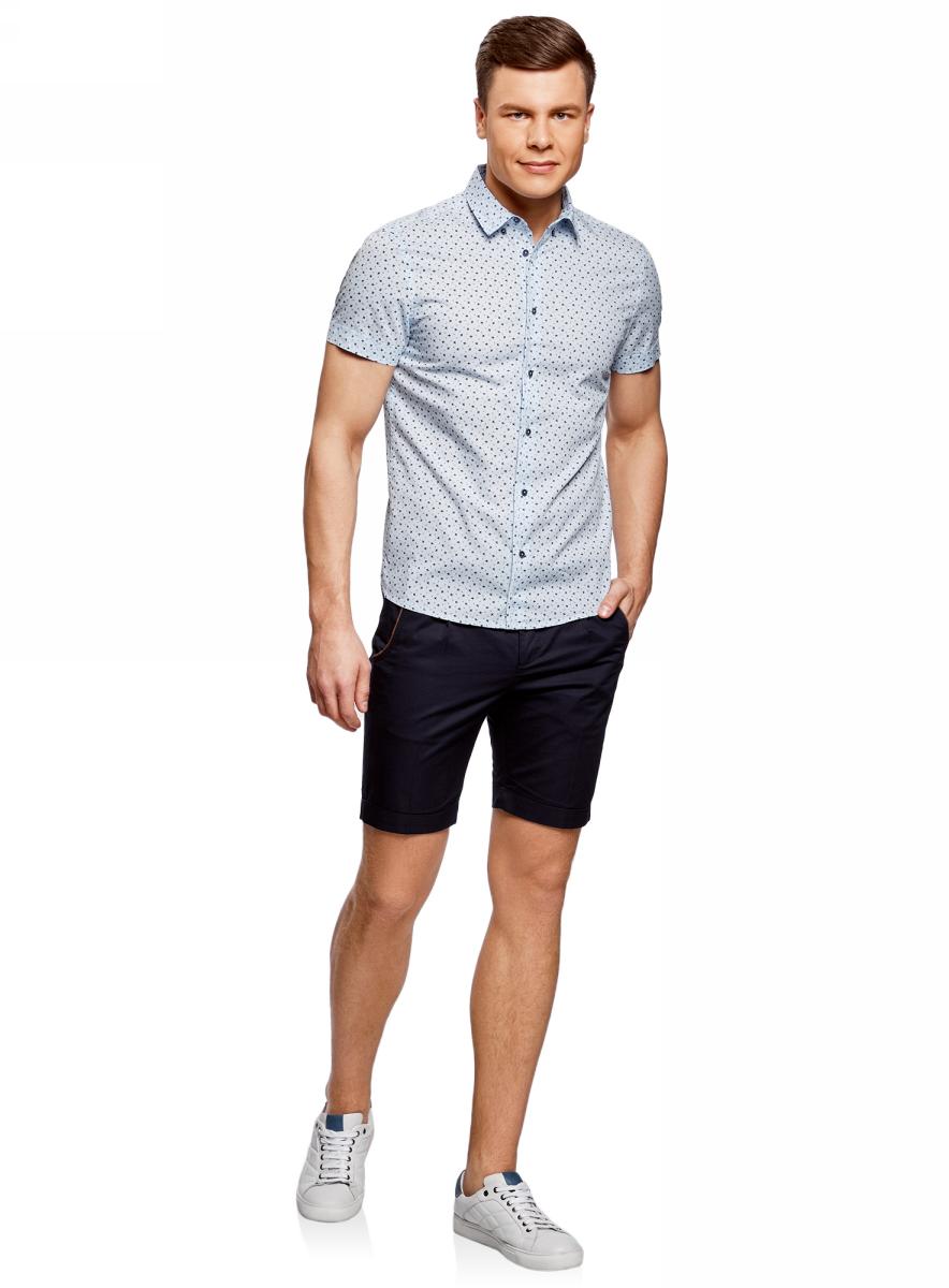 Рубашка мужская oodji Lab, цвет: голубой, темно-синий. 3L410107M/39312N/7079G. Размер M-182 (50-182)3L410107M/39312N/7079GМужская рубашка от oodji выполнена из натурального хлопка. Модель с короткими рукавами застегивается на пуговицы.