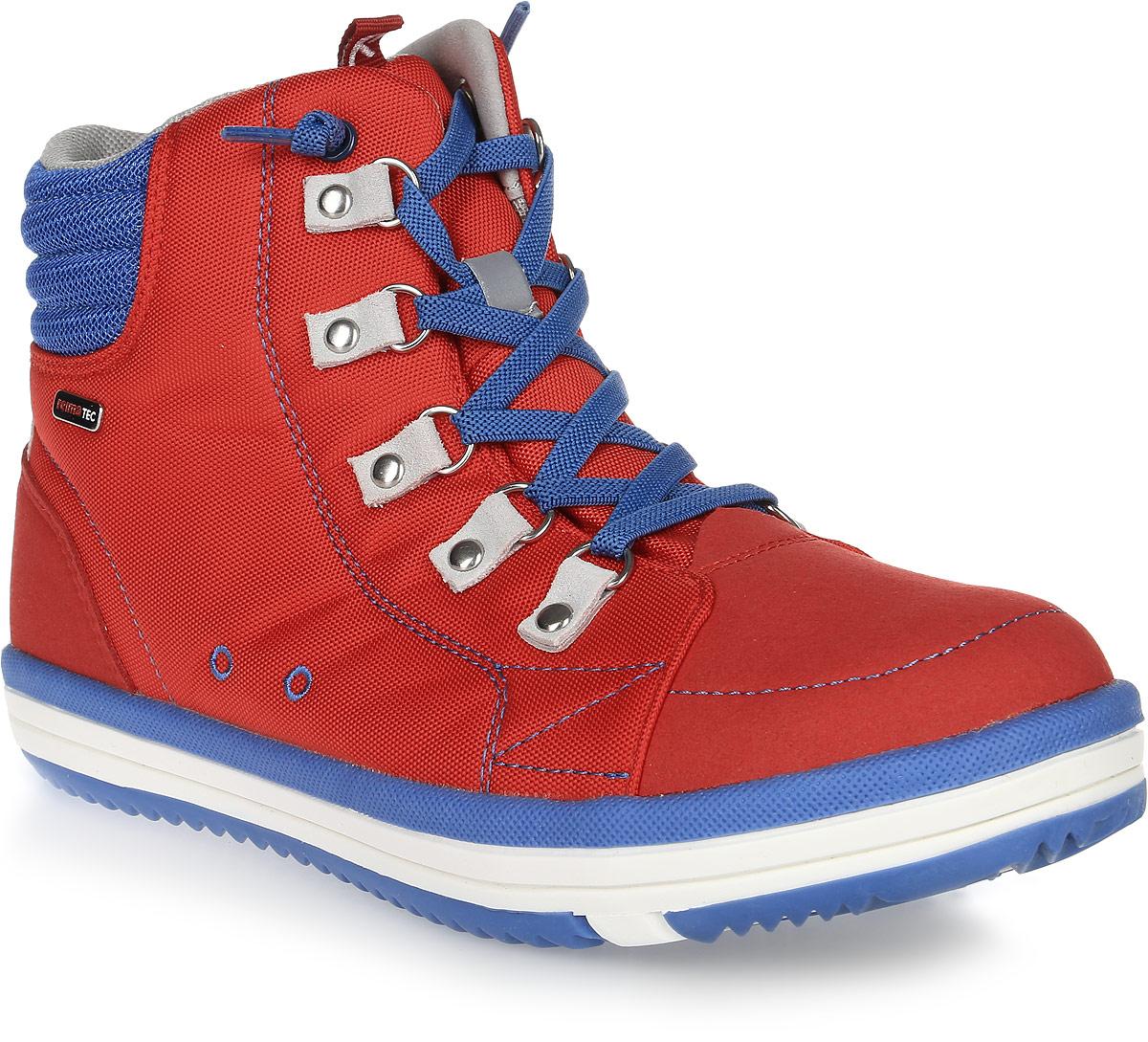 Ботинки детские Reima Wetter Wash, цвет: красный. 5693033720. Размер 385693033720Водонепроницаемые ботинки Reimatec снабжены водонепроницаемой вставкой с запаянными швами и текстильной подкладкой. Верх сделан из износостойкого нейлона, а носок и задник усилены микрофиброй. Благодаря эластичным шнуркам, надевать боинки Wetter быстро и легко. Обувь снабжена уникальными съемными стельками Reima с принтом Happy Fit, которые помогают правильно определить размер. На подошве также нанесены линии, которые показывают фактический размер модели. Светоотражающие детали и новые жизнерадостные цвета отлично сочетаются с верхней одеждой и аксессуарами Reima. Ботинки пригодны для машинной стирки при 30°C.