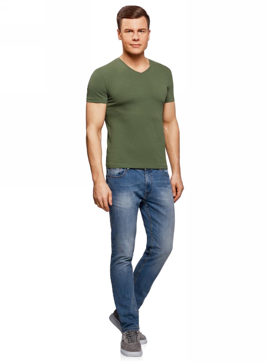Футболка муж oodji Basic, цвет: темно-зеленый. 5B612002M/46737N/6900N. Размер M (50)5B612002M/46737N/6900NБазовая футболка с V-образным вырезом горловины и короткими рукавами выполнена из эластичного хлопка.