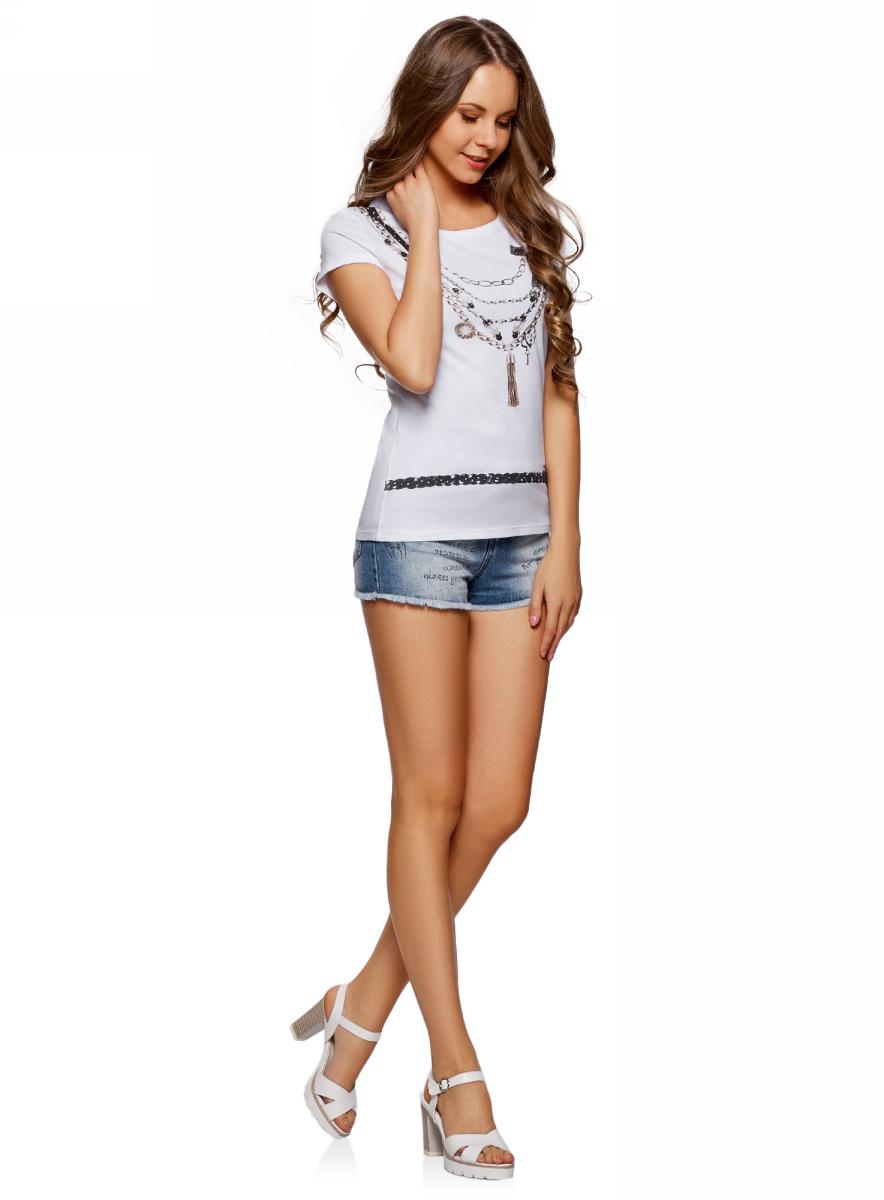 Шорты женские oodji Ultra, цвет: синий джинс. 12807085/46788/7500W. Размер 28 (46)12807085/46788/7500WШорты джинсовые с надписями