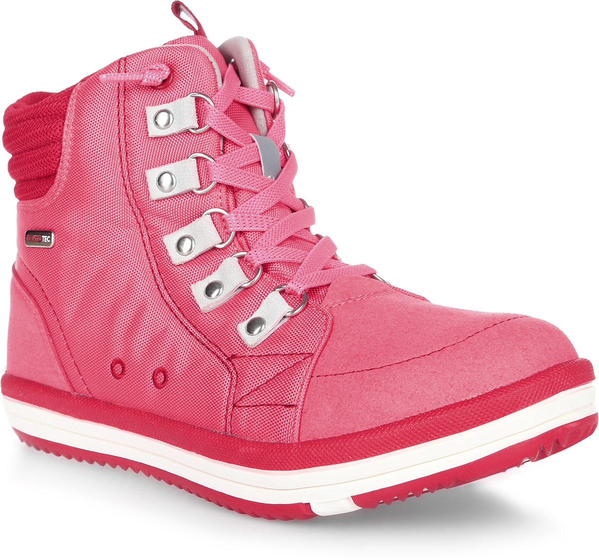 Ботинки детские Reima Wetter Wash, цвет: розовый. 5693033360. Размер 305693033360Водонепроницаемые ботинки Reimatec снабжены водонепроницаемой вставкой с запаянными швами и текстильной подкладкой. Верх сделан из износостойкого нейлона, а носок и задник усилены микрофиброй. Благодаря эластичным шнуркам, надевать боинки Wetter быстро и легко. Обувь снабжена уникальными съемными стельками Reima с принтом Happy Fit, которые помогают правильно определить размер. На подошве также нанесены линии, которые показывают фактический размер модели. Светоотражающие детали и новые жизнерадостные цвета отлично сочетаются с верхней одеждой и аксессуарами Reima. Ботинки пригодны для машинной стирки при 30°C.