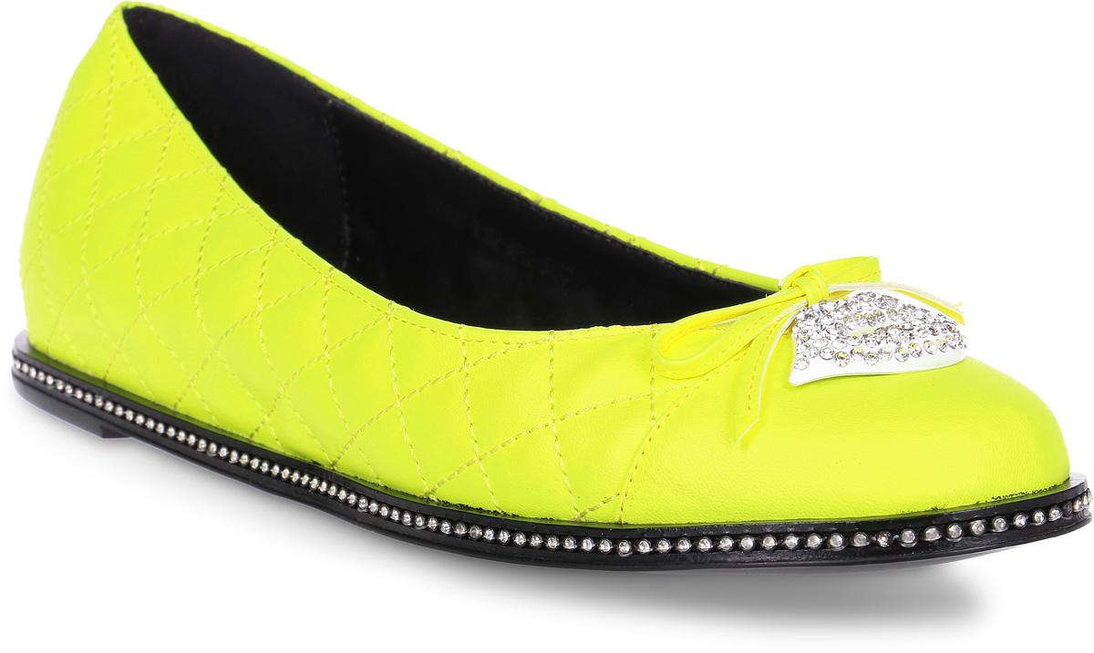 Балетки женские Lk Collection, цвет: желтый. X5082D-M182-MP62-5PU. Размер 38X5082D-M182-MP62-5PUСтильные балетки выполнены из искусственной кожи.