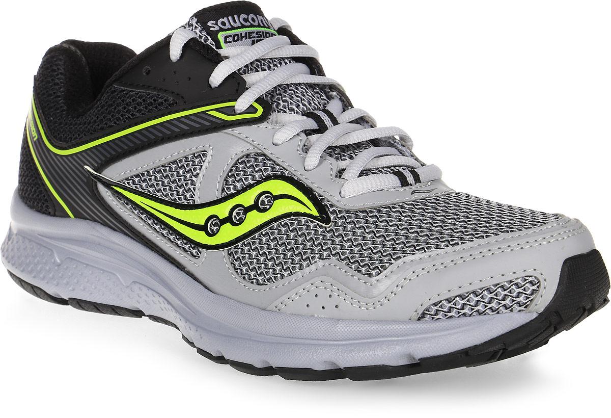 Кроссовки для бега мужские Saucony Cohesion 10, цвет: черный, серый. S25333-2. Размер 7,5 (40)S25333-2Мужские кроссовки Saucony Cohesion 10 - отличный выбор для бега и тренировок. Верх модели выполнен из воздухопроницаемого сетчатого материала, обеспечивающего комфорт и долговечность. Шнуровка надежно фиксирует обувь на ноге и позволяет отрегулировать объем. Технология GRID - вставка в пятке из специального материала, обеспечивает стабильность и амортизацию во время активных тренировок. Рельефная поверхность подошвы из высококачественной резины, создает отличное сцепление, даря уверенность каждому шагу.