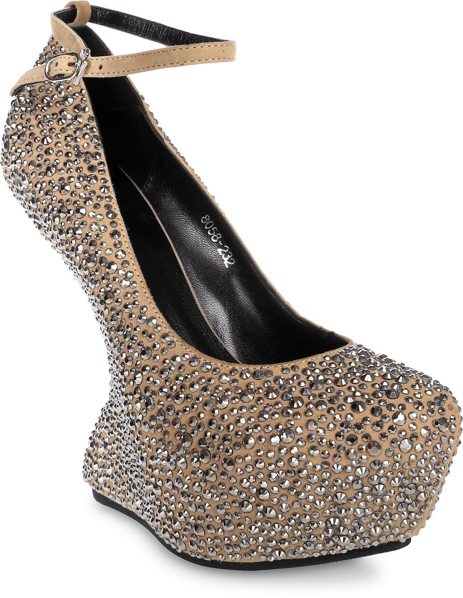 Туфли женские Graciana, цвет: бежевый. FT8058-232. Размер 35FT8058-232Женские туфли от Graciana на оригинальной платформе выполнены из натуральной замши и декорированы стразами. Модель фиксируется на ноге при помощи ремешка на пряжке. Подкладка, изготовленная из натуральной кожи, обладает хорошей влаговпитываемостью и естественной воздухопроницаемостью. Стелька из натуральной кожи гарантирует комфорт и удобство стопам. Подошва из тунита износоустойчива и обеспечивает хорошее сцепление с поверхностью.