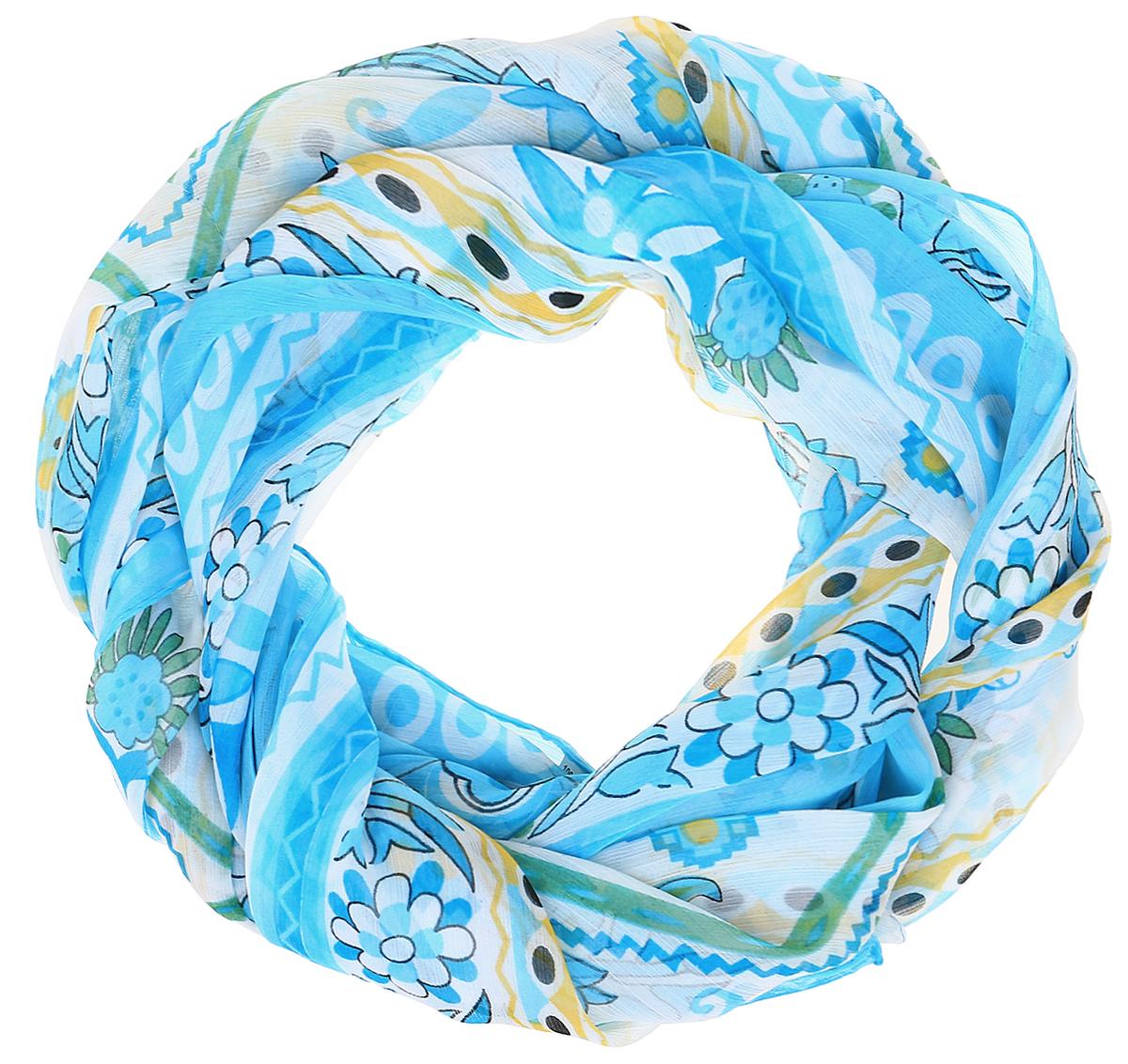 Шарф женский Ethnica, цвет: голубой, белый. 262040. Размер 50 см х 170 см262040Стильный шарф привлекательной расцветки изготовлен из 100% вискозы. Он удачно дополнит ваш гардероб и поможет создать новый повседневный образ, добавить в него яркие краски. Отличный вариант для тех, кто стремится к самовыражению и новизне!
