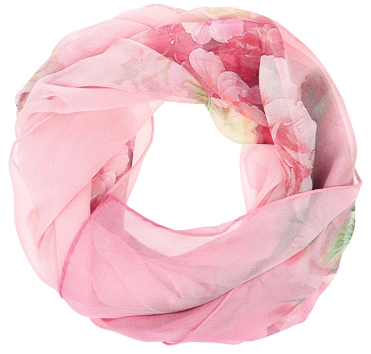 Шарф женский Vitta pelle, цвет: розовый. Ro04SL215/577. Размер 45 см х 170 смRo04SL215/577Шарф из тонкого шифона с принтом. Обработка кромки - ручная подгибка.
