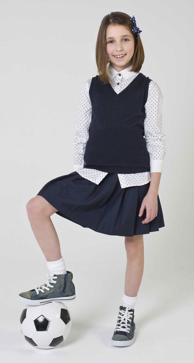 Блузка для девочки Gulliver, цвет: белый, серый. 217GSGC2210. Размер 152217GSGC2210Если вы хотите купить школьную блузку для девочки, не ограничивайте свой выбор исключительно белыми блузками. Красивые блузки для школы могут быть разными! Модные школьные блузки - это блузки в мелкий рисунок! Блузка в бантики, сумочки, горошек - отличный вариант на каждый день! Деликатный мелкий рисунок не нарушает школьного дресс-кода, но создает позитивное настроение. Блузка с рисунком разнообразит школьные будни ученицы и сделает ее образ свежим и выразительным.
