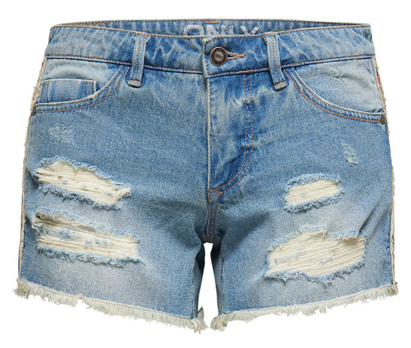 Шорты женские Only, цвет: синий. 15134624_Light Blue Denim. Размер 26 (42)15134624_Light Blue DenimМодные рваные шорты Only помогут создать стильный повседневный образ. Они застегиваются на пуговицу в поясе и ширинку на молнии. Модель имеет среднюю линию талии и классический пятикарманный крой: два втачных кармана и небольшой накладной кармашек спереди, два больших накладных кармана сзади. Пояс дополнен шлевками для ремня и кожаной нашивкой сзади. Сбоку модель украшена разноцветной плетеной лентой.