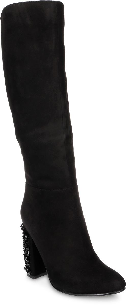 Сапоги женские Graciana, цвет: черный. A1686-T1520-1B. Размер 37A1686-T1520-1BМодные женские сапоги от Graciana выполнены из натуральной замши. Подкладка и стелька из байки комфортны при движении. Застегивается модель на боковую застежку-молнию. Эластичные вставки на голенище обеспечивают идеальную посадку модели на ноге. Высокий каблук, оформленный бусинами, невероятно устойчив. Подошва и каблук дополнены рифлением.