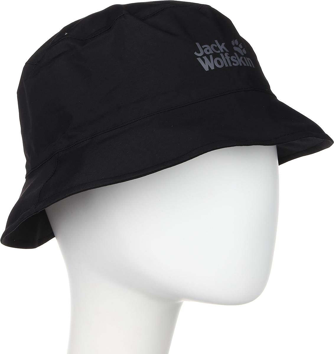 Панама Jack Wolfskin Texapore Rain Hat, цвет: черный. 1902771-6000. Размер L (57/60)1902771-6000Панама Texapore Rain Hat идеально подходит для путешествий. Верх изделия выполнен из материала TEXAPORE 2L (100% полиамид). Это водонепроницаемый, не продуваемый и дышащий материал, который позволит защитить вашу головку от дождя и сильного ветра. Подкладка изготовлена из легкого материала COOLMAX MESH (100% полиэстер), который создает прохладу и обеспечивает комфорт при носке. Модель выполнена в однотонном дизайне и дополнена логотипом бренда.