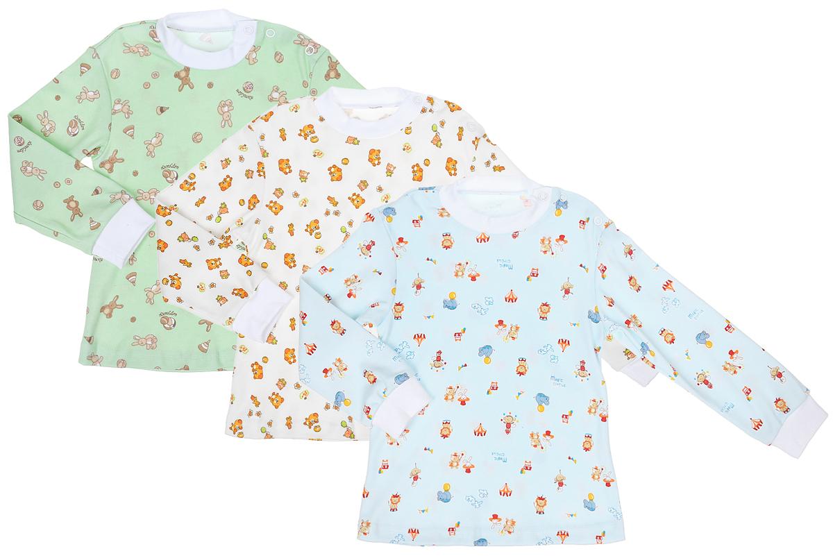 Комплект футболок для мальчика Фреш Стайл, цвет: голубой, молочный, салатовый. 33-232м. Размер 8633-232мФутболка с длинными рукавами Фреш Стайл послужит идеальным дополнением к гардеробу малыша.Футболка изготовлена из натурального хлопка, благодаря чему она необычайно мягкая и легкая, не раздражает нежную кожу ребенка и хорошо вентилируется, а эластичные швы приятны телу малыша и не препятствуют его движениям. Футболка имеет удобные запахи на плечах, которые позволяют без труда переодеть ребенка. Оформлена модель оригинальным рисунком с изображением забавных животных.В такой футболке ваш ребенок всегда будет в центре внимания!