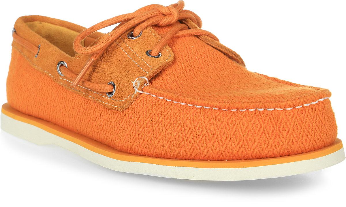 Топсайдеры мужские Timberland 2-Eye Leather and Fabric Boat, цвет: оранжевый. TBLA16MUW. Размер 9 (42)TBLA16MUWСтильные мужские топсайдеры Timberland не оставят вас равнодушным. Модель выполнена из натурального льна с элементами из замши. Оформлены декоративной прострочкой и тиснением с логотипом фирмы. Подкладка изготовлена из мягкого и прочного текстиля с замшевой нашивкой. Съемная стелька выполнена из натуральной кожи с добавлением легкого ЭВА-материала и дополнена небольшим супинатором с перфорацией. Подошва выполнена из легкой и гибкой резины, которая обеспечивает отличное сцепление с любой поверхностью. Такие модные и удобные топсайдеры займут достойное место в вашем гардеробе.