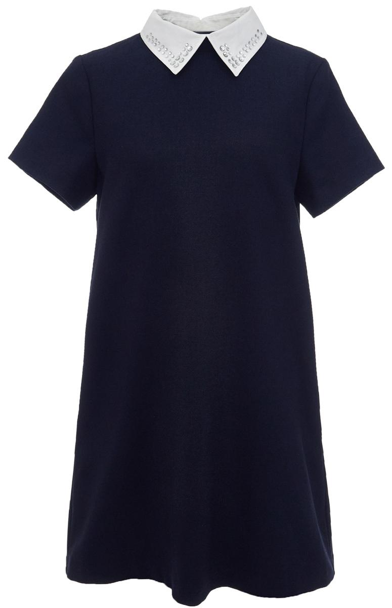 Платье для девочки Gulliver, цвет: темно-синий. 217GSGC2505. Размер 134217GSGC2505Строгое школьное платье от Gulliver, что может лучше отражать деловой дресс-код учебных заведений? Плотная мягкая ткань, легкий трапециевидный силуэт, отстегивающийся воротник с деликатными стразами, карманы в боковых швах. Именно такими и должны быть модные школьные платья - красивыми, комфортными и элегантными. Купить школьное платье можно с кедами или кроссовками. Этот стилевой микс придаст образу динамичности и остроты.