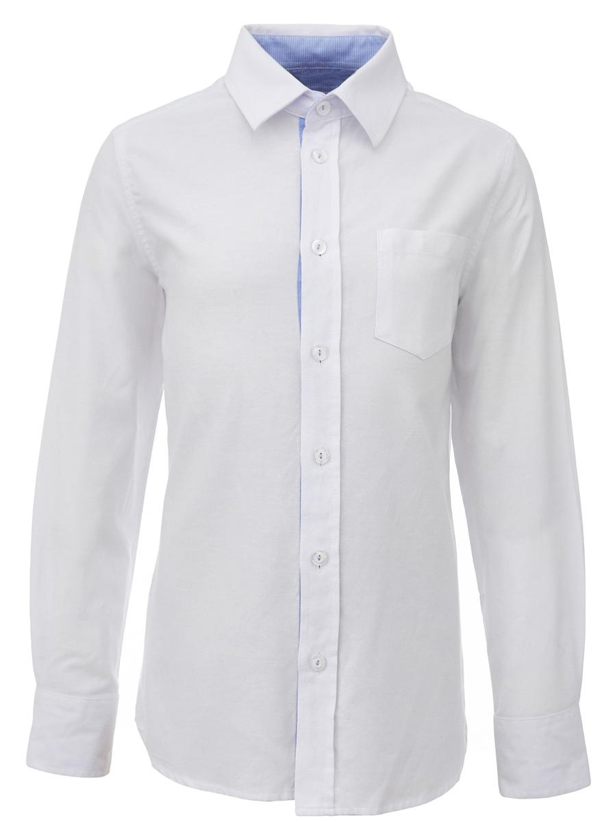 Рубашка для мальчика Gulliver, цвет: белый. 217GSBC2316. Размер 164217GSBC2316Строгая, лаконичная, элегантная рубашка для школы настроит на серьезный и ответственный подход к делу. Хороший состав, качество и текстура ткани, модный силуэт, актуальная форма воротника делают рубашку отличным решением на каждый день, позволяющим ребенку чувствовать себя уверенно и достойно. Деликатная отделка: контрастная внутренняя планка и стойка, налокотники и фирменная вышивка на манжете придают модели индивидуальные черты, не нарушая школьного дресс-кода. Если вы хотите купить рубашку для ежедневного комфорта и отличного внешнего вида ребенка, детская рубашка от Gulliver- лучшее решение. Она сделает образ ученика стильным, свежим, интересным.