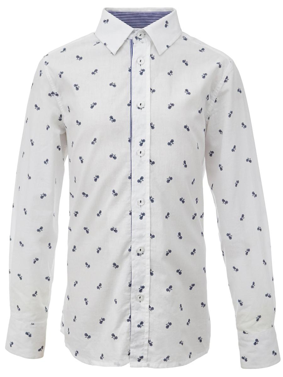 Рубашка для мальчика Gulliver, цвет: белый. 217GSBC2318. Размер 158217GSBC2318При всем богатстве выбора, купить рубашку для мальчика высокого качества не очень просто. Школьная рубашка должна отлично выглядеть, хорошо сидеть, соответствовать актуальной форме, быть всегда свежей, выглаженной и опрятной. Именно поэтому состав, плотность и текстура материала имеет большое значение! Рубашка с мелким рисунком - тренд сезона! Она не нарушает школьный дресс-код, но делает повседневный Look ярче и интереснее, создавая позитивное настроение. Хорошая школьная рубашка сделает каждый день ребенка комфортным.
