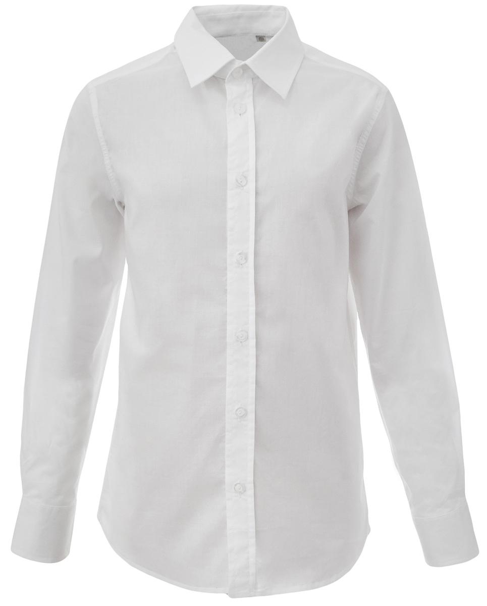 Рубашка для мальчика Gulliver, цвет: белый. 217GSBC2319. Размер 164217GSBC2319Строгая, лаконичная, элегантная рубашка для школы настроит на серьезный и ответственный подход к делу. Хороший состав и качество ткани, модный силуэт, актуальная форма воротника делают рубашку от Gulliver отличным решением на каждый день, позволяющим ребенку быть всегда свежим, опрятным, аккуратным. Купить рубашку стоит вместе с темным или ярким галстуком для создания завершенного образа ученика.