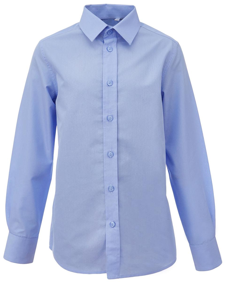 Рубашка для мальчика Gulliver, цвет: голубой. 217GSBC2301. Размер 122217GSBC2301Школьная рубашка - классика жанра! Строгая, лаконичная, элегантная рубашка для школы настроит на серьезный и ответственный подход к делу. Хороший состав, качество и текстура ткани, модный силуэт, актуальная форма воротника делают рубашку отличным решением на каждый день, позволяющим ребенку чувствовать себя уверенно и достойно. Если вы хотите купить рубашку для ежедневного комфорта и отличного внешнего вида ребенка, детская рубашка от Gulliver- лучшее решение. Она сделает образ ученика стильным, свежим, интересным.