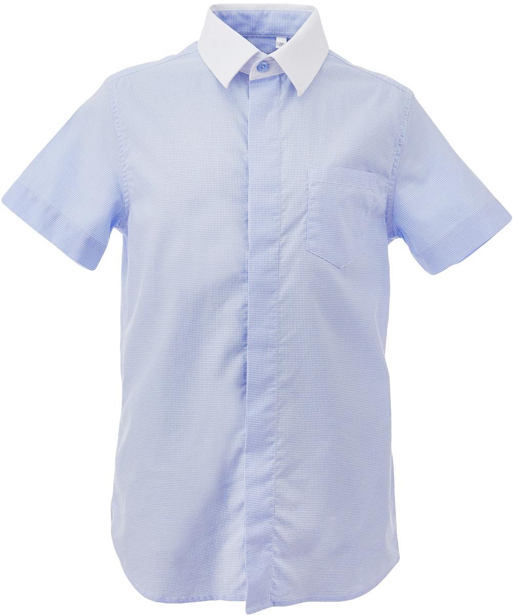 Рубашка для мальчика Gulliver, цвет: голубой. 217GSBC2306. Размер 122217GSBC2306Купить рубашки для мальчиков - в преддверии учебного сезона, это самая распространенная задача родителей школьников. Школьные рубашки должны быть строгими, элегантными, стильными. Они обязаны соответствовать принятому дресс-коду, но не лишать ученика индивидуальности. Именно такая рубашка с коротким рукавом от Gulliver позволит чувствовать себя уверенно и достойно. Рубашка с коротким рукавом - прекрасное решение для жарких классов. Хороший состав и качество ткани, модный силуэт, актуальная форма воротника делают рубашку от Gulliver отличным решением на каждый день. Деликатная отделка: контрастная внутренняя планка и белый воротник придают модели индивидуальные черты.