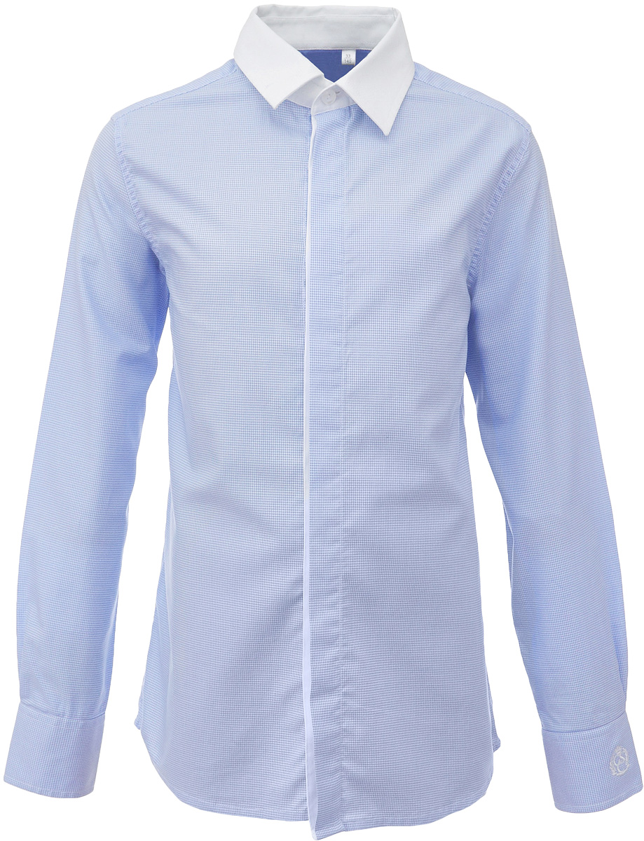 Рубашка для мальчика Gulliver, цвет: голубой. 217GSBC2312. Размер 158217GSBC2312Купить рубашки для мальчиков - в преддверии учебного сезона, это самая распространенная задача родителей школьников. Школьные рубашки должны быть строгими, элегантными, стильными. Они обязаны соответствовать принятому дресс-коду, но не лишать ученика индивидуальности. Именно такая рубашка от Gulliver позволит чувствовать себя уверенно и достойно. Хороший состав и качество ткани, модный силуэт, актуальная форма воротника делают рубашку от Gulliver отличным решением на каждый день. Деликатная отделка: контрастная внутренняя планка и белый воротник придают модели индивидуальные черты.