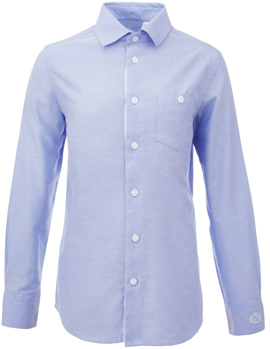 Рубашка для мальчика Gulliver, цвет: голубой. 217GSBC2313. Размер 146217GSBC2313Строгая, лаконичная, элегантная рубашка для школы от Gulliver настроит на серьезный и ответственный подход к делу. Хороший состав, качество и текстура ткани, модный силуэт, актуальная форма воротника делают рубашку отличным решением на каждый день, позволяющим ребенку чувствовать себя уверенно и достойно. Если вы хотите купить рубашку для ежедневного комфорта и отличного внешнего вида ребенка, детская рубашка от Gulliver- лучшее решение. Она сделает образ ученика стильным, свежим, интересным.