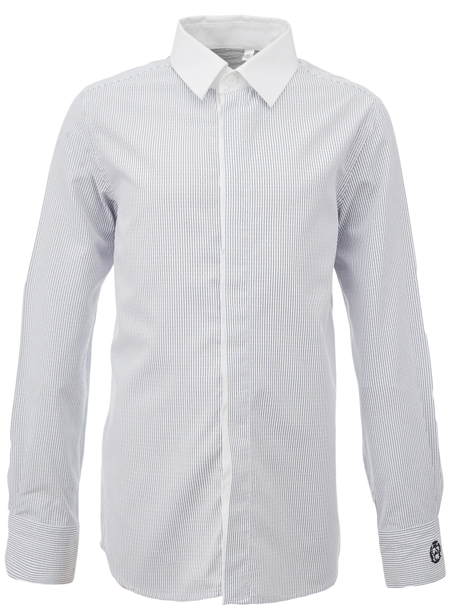 Рубашка для мальчика Gulliver, цвет: серый. 217GSBC2309. Размер 146217GSBC2309При всем богатстве выбора, купить рубашку для мальчика высокого качества не очень просто. Школьная рубашка должна отлично выглядеть, хорошо сидеть, соответствовать актуальной форме, быть всегда свежей, выглаженной и опрятной. Именно поэтому состав, плотность и текстура материала имеют большое значение! Рубашка в полоску - тренд сезона! Она не нарушает школьный дресс-код, но делает повседневный Look ярче и интереснее. Контрастный воротник, закрытая суппатная планка, деликатная фирменная вышивка на манжете придают модели индивидуальные черты. Хорошая школьная рубашка сделает каждый день ребенка комфортным.