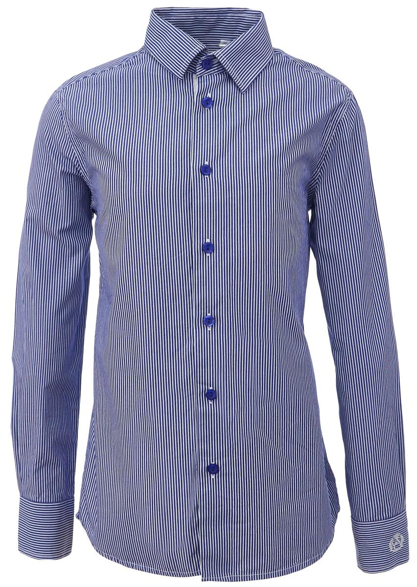 Рубашка для мальчика Gulliver, цвет: фиолетовый. 217GSBC2315. Размер 140217GSBC2315Школьная рубашка в полоску - классика жанра! Строгая, лаконичная, элегантная рубашка для школы настроит на серьезный и ответственный подход к делу. Хороший состав, качество и текстура ткани, модный силуэт, актуальная форма воротника делают рубашку отличным решением на каждый день, позволяющим ребенку чувствовать себя уверенно и достойно. Если вы хотите купить рубашку для ежедневного комфорта и отличного внешнего вида ребенка, детская рубашка от Gulliver - лучшее решение. Она сделает образ ученика стильным, свежим, интересным.