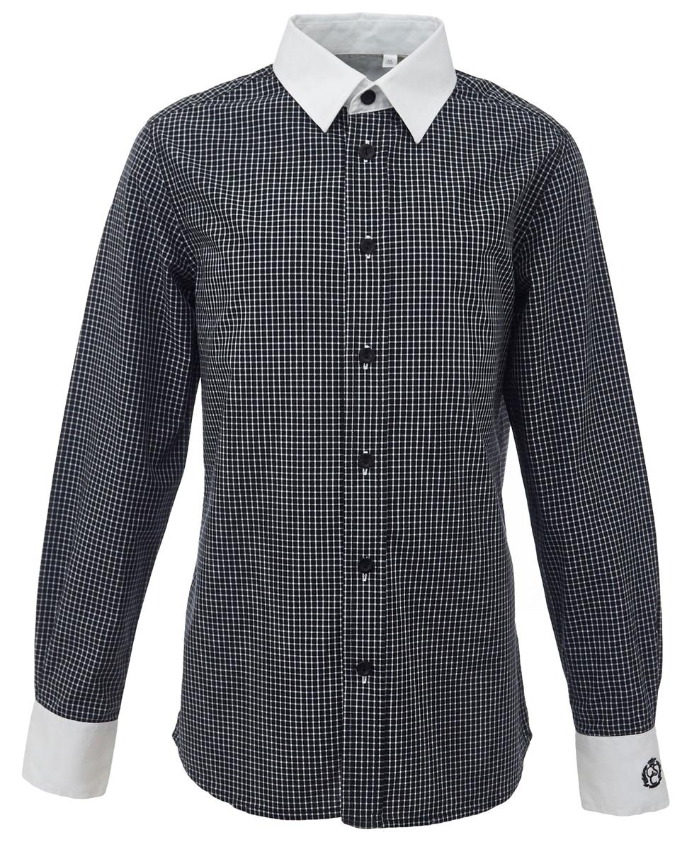 Рубашка для мальчика Gulliver, цвет: черный, белый. 217GSBC2317. Размер 146217GSBC2317Купить рубашку для мальчика - в преддверии учебного сезона, это самая распространенная задача родителей школьников. При всем богатстве выбора, купить рубашку высокого качества не очень просто. Школьная рубашка должна отлично выглядеть, хорошо сидеть, соответствовать актуальной форме, быть всегда свежей и простой в уходе. Именно поэтому состав, плотность и текстура материала имеет большое значение! Рубашка в мелкую клетку - тренд сезона! Она не нарушает школьный дресс-код, но делает повседневный Look ярче и интереснее, создавая позитивное настроение. Белая отделка: внутренняя часть планки и воротник, а также контрастная форменная вышивка на манжете придают модели выразительность и индивидуальность.