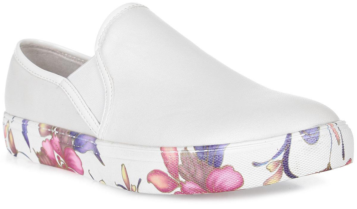 Кеды для девочки Vitacci, цвет: белый. 23969-1. Размер 3523969-1Стильные кеды Vitacci придутся по душе вашей моднице! Модель изготовлена из качественной искусственной кожи и оформлена на подошве цветочным принтом. Резинки, расположенные на подъеме, надежно зафиксируют обувь на ноге. Подкладка и стелька из натуральной кожи позволяют ногам дышать. Рифленый рисунок на подошве обеспечивает отличное сцепление с различными поверхностями. Такие кеды - отличный вариант на каждый день.