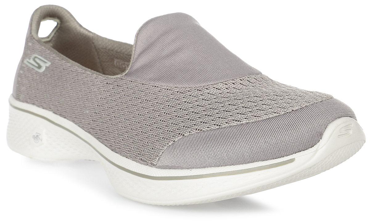 Кроссовки женские Skechers Go Walk 4 - Pursuit, цвет: бежевый. 14148-TPE. Размер 8,5 (38,5)14148-TPEЖенские кроссовки от Skechers предназначены для ходьбы и занятий спортом. Новая инновационная подошва Resalyte Flex, которая используется в этой обуви, обеспечивает максимальную гибкость при ходьбе. В этой модели также применяется стелька GOGA Mat, они обладает хорошим амортизационным качеством и обработана биоцидом для борьбы с микробами, вызывающими специфический запах. В подметке обуви установлены специальные выступы Mini GO impulse sensors, которые гарантируют превосходное сцепление с поверхностью. Бесшовный верх обуви выполнен из очень легкого, тянущегося и хорошо вентилируемого текстиля Supersocks, благодаря которому обувь идеально сидит на ноге.