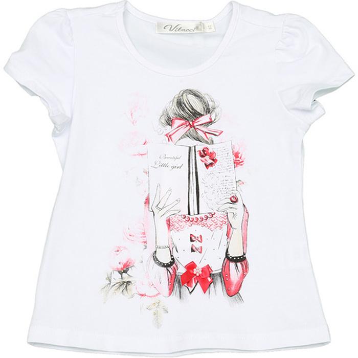 Футболка для девочки Vitacci, цвет: белый. 2152319-05. Размер 1102152319-05Замечательная футболка для маленькой модницы с оригинальным принтом отлично подойдет как для прогулки, так и для праздничного мероприятия.