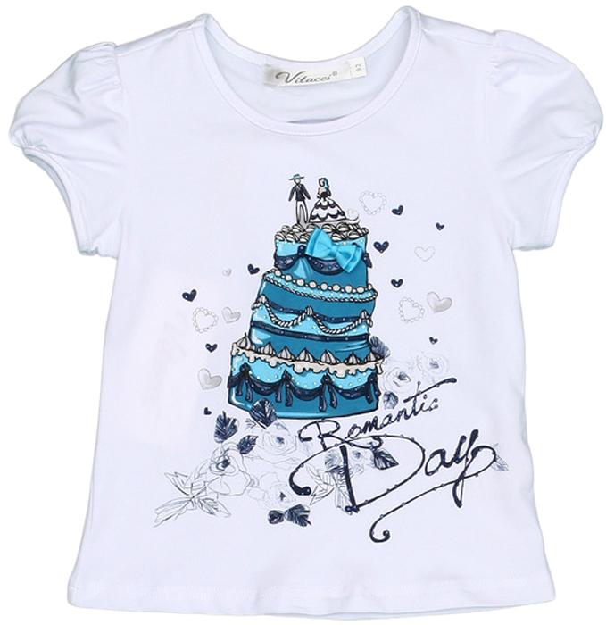 Футболка для девочки Vitacci, цвет: белый, синий. 2152442-10. Размер 982152442-10Замечательная футболка для маленькой модницы с оригинальным принтом отлично подойдет как для прогулки, так и для праздничного мероприятия.