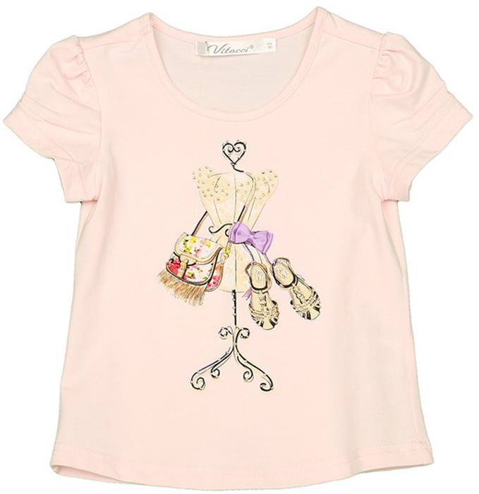 Футболка для девочки Vitacci, цвет: розовый. 2152437-11. Размер 1042152437-11Оригинальная футболка на девочку с принтом, оформленным стразами, не оставит равнодушной ни одну маленькую модницу.