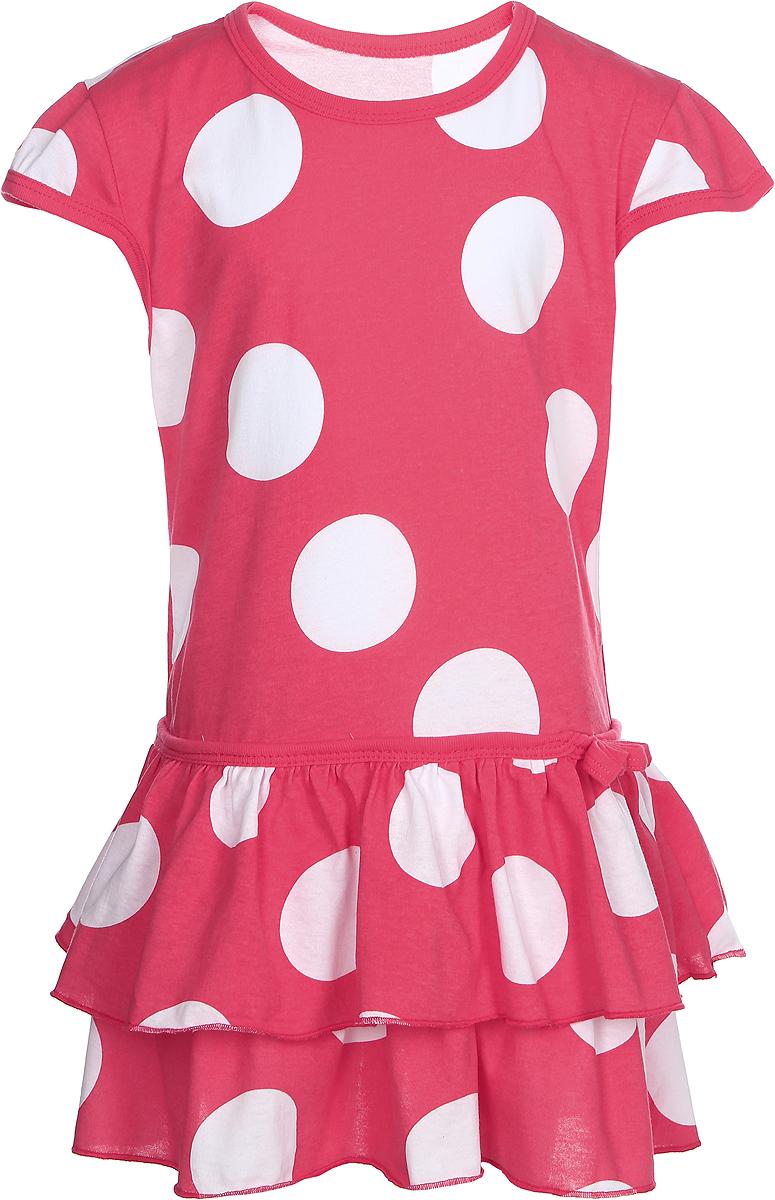 Платье для девочки КотМарКот, цвет: коралловый, белый. 21515. Размер 9821515Платье для девочки КотМарКот изготовлено из трикотажа в горошек, свободного кроя. Модель очень мягкая и легкая, не раздражает нежную кожу ребенка и хорошо вентилируется.