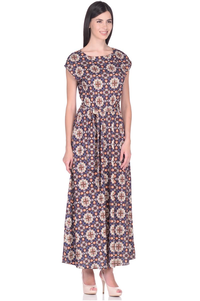 Платье EseMos, цвет: темно-синий, бежевый, оранжевый. 103. Размер 42103Великолепное платье EseMos в пол, изготовленное из струящегося материала масло в изысканной современной расцветке. Женственный силуэт без рукавов, изящно присобран по талии на мягкую резинку, образуя плавные ниспадающие складки по юбке-макси. Талию подчеркивает пояс-завязка, придает свою изюминку, делая образ совершенным. Платье в пол популярно в этом сезоне. Модель превосходно садится, красиво обрисовывая фигуру, визуально корректирует силуэт, делая образ более стройным и привлекательным.