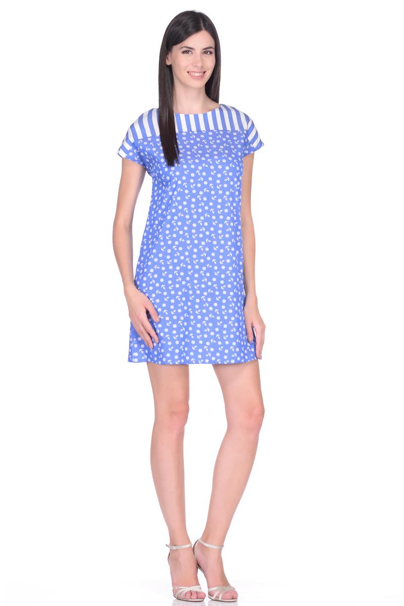 Платье EseMos, цвет: голубой, белый. 104/2. Размер 46104/2Платье EseMos в морском стиле изготовлено из приятного материала в комбинированной расцветке. Лаконичный фасон с высокой отрезной кокеткой, короткими цельнокроеными рукавами и округлым вырезом горловины. Кокетка в полоску и характерный принт основного кроя гармонично сочетаются, подчеркивая морскую тематику в дизайне платья. Платье отлично садится по фигуре, не сковывает движений, дарит ощущения легкости и комфорта.